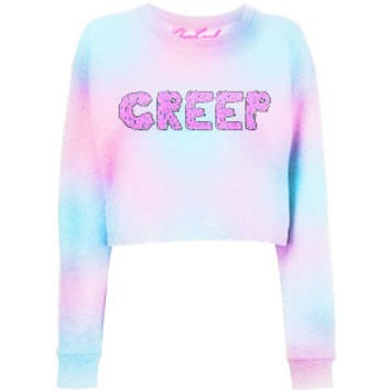 CREEP Printed dyed Pink and Blue Cropped Sweatshirt