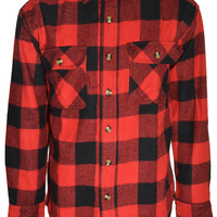 Sports Afield Mens Buffalo Flannel Shirt (Red Black)