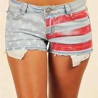 Red Flag Shorts - Blue