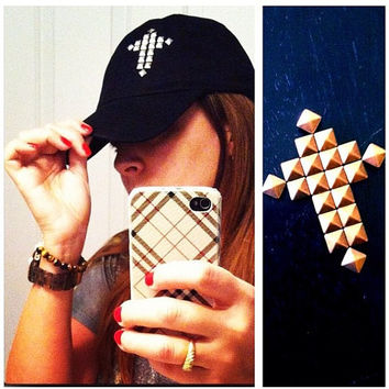 CROSS STUDDED HAT Baseball Cap Black White by LivingYoungDesigns