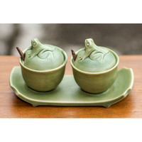 Novica 3 Piece Ceramic Condiment Bowl with Tray Set