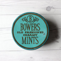 Vintage Bowers Old Fashioned Creamy Mints Green Round Storage Metal Tin | Country, Rustic, Farmhouse Tin