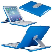 iPad Air Keyboard, CoverBot iPad Air Keyboard Case Station BLUE Bluetooth Keyboard For iPad Air 1 (iPad 5th Gen) with IOS Commands. Folio Style Cover with 360 Degree Rotating Viewing Stand Feature