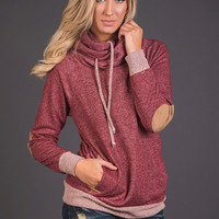 Click With You Cowl Neck Pullover Hoodie (Burgundy)