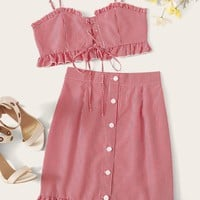 Lace Up Frilled Plaid Cami & Button Front Skirt Set