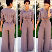 Grey Button Down Lace Tie Drop Top High Waist Wide Leg Pants Set