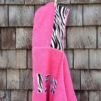 Girls Personalized Hooded Towel Pink with Zebra Fabric Beach Pool Bath Towel Toddler Kids Children Birthday Christmas Baby Shower Gift