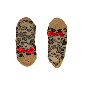 One Size Short House Socks in Cheetah Print and Red Satin Bow