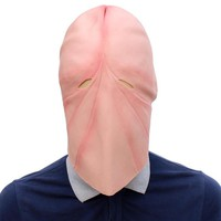 Funny Natural Latex Penis Dick Head Full Face Cosplay Prop Halloween Mask Helmet Party Supplier