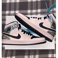 "Air Jordan 1 High Mid ""Fearless"" Men's and Women's High-Top All-match Sneakers Shoes"
