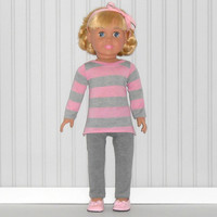 Pink and Gray Stripe Tee Shirt and Gray Leggings for18 inch Girl Doll American Doll Clothes