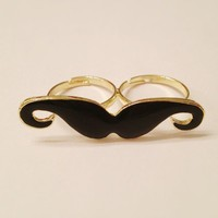 Black Gold Mustache Double Finger Ring from Linsi's Boutique