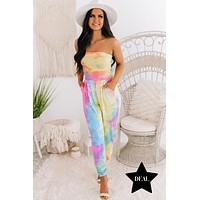 Set You Free Strapless Tie Dye Jumpsuit (Pink Combo)