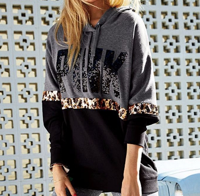 Image of Victoria's Secret PINK Women's Fashion Letter Print Round neck Long-sleeves Pullover Tops Sweater