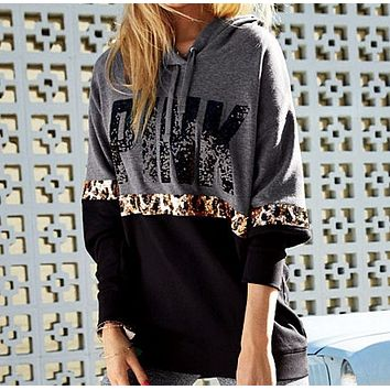 Victoria's Secret PINK Women's Fashion Letter Print Round neck Long-sleeves Pullover Tops Sweater