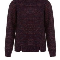 New Look Mobile | Dark Red and Navy Zip Shoulder Knitted Jumper