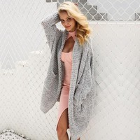 Casual knitting long cardigan Loose kimono cardigan knitted jumper