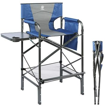 EVER ADVANCED Tall Directors Chair Bar Height Foldable Makeup Artist Chair with Side Table Cup Holder Side Storage Bag Footrest, Supports 300LBS (Blue/Grey) Blue/Grey