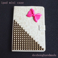 iPad mini Case, iPad mini Cover,ivory case studded bronze stud studs with Pink bowknot ,lovely and Steampunk  mini ipad case