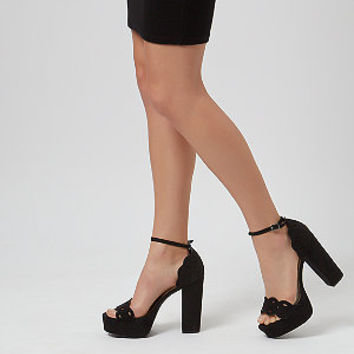 Black Cut Out Front Ankle Strap Block Heels