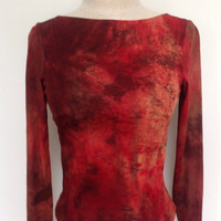 Vintage 90s Abstract Fire Mars Red-Orange Tie Dye Stretch Long Sleeve Midriff Belly Shirt Sz. S