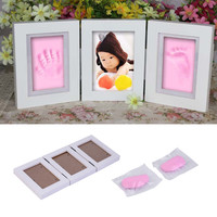 OUTAD Cute 3D DIY Baby Photo frame handprint footprint Soft Clay Safe Inkpad Home Wedding Decor birthday Gifts without cover