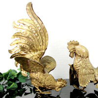Vintage BRASS FIGHTING COCKS Italy Tole Statue Rooster Figure Hollywood Regency
