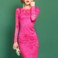 Red Sexy Lace Dress S010538
