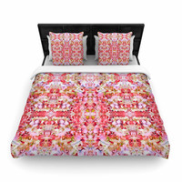 """Carolyn Greifeld """"Floral Reflections"""" Pink Red Woven Duvet Cover"""