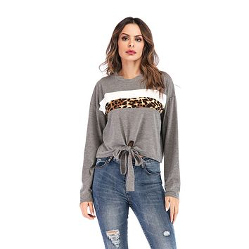 Women's New Round Neck Colorblock Leopard Long Sleeve Top