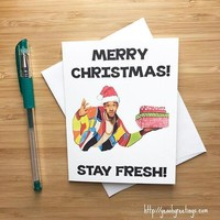 Will Smith Fresh Prince of Bel Air Funny Christmas Card Holiday Card FREE SHIPPING