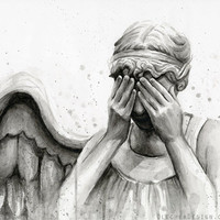 Doctor Who Weeping Angel Art Print Watercolor Painting Don't Blink Sci-Fi Dr Who Giclee Wall Decor