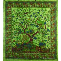 Queen Green Indian Tree Of Life Hippie Wall Tapestry Bedspread