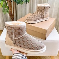 UGG GG fashion letters full print high-top snow boots pink ladies snow shoes
