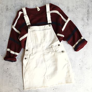 Final Sale - White Denim Bib Overall Dress