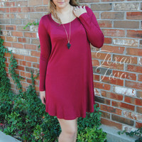 Solid Long Sleeve Tunic Dress in Burgundy
