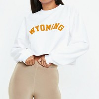 Missguided - White Wyoming Cropped Sweatshirt
