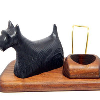 """Exclusive Wooden Pipes Stand """"SCOTCH TERRIER"""" for Tobacco Smoking Pipes. Handmade. Handmade Ash-Tree"""