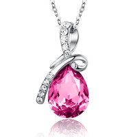 Eternal Love Teardrop Swarovski Elements Crystal Pendant Necklace - Pink