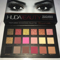 Instock! NEW 18 Colors Huda Beauty Eyeshadow Rose Gold Textured Pallete Make up Eye shadow Palette