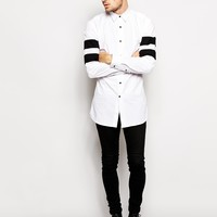 Selected Longline Shirt With Varsity Stripe at asos.com
