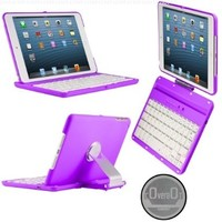 CoverBot iPad Mini 3, iPad Mini Retina Display and iPad Mini Keyboard Case Station PURPLE. Bluetooth Keyboard For 7.9 Inch New Mini iPad with IOS Commands. Folio Style Cover with 360 Degree Rotating Viewing Stand Feature