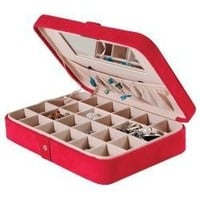 Mele & Co. Maria Plush Earring and Ring Holder Jewelry Box, 24 Sections (Red)