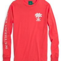 Southern Tide ST Club Long Sleeve T-Shirt- Hot Coral