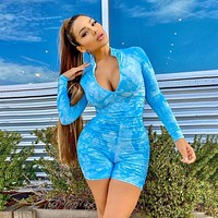 New women's high-waist tight hip sports tie dye romper chest fornt zipper neck pleated romper