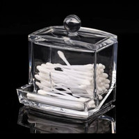 Clear Acrylic Q-tip Makeup Storage Cotton Swab Holder Organizer Box Cosmetic Holder