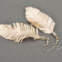 Handmade leather earrings Vintage Feathers Fashion accessories Costume Jewelry
