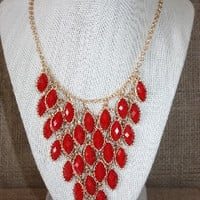 Red Oval Jewel Statement Necklace