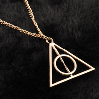 Golden Harry Potter Necklace, Deathly Hallows Necklace, Deathly Hallows Jewelry, Harry Potter Necklace, Harry Potter Jewelry