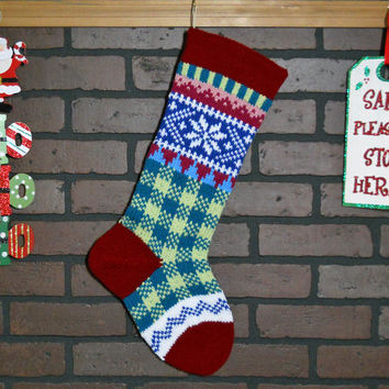 Plaid Christmas Stocking, Hand Knit with Claret Red Cuff, and White Snowflake, can be personalized, Wedding Gift, Shower Gift, Housewarming